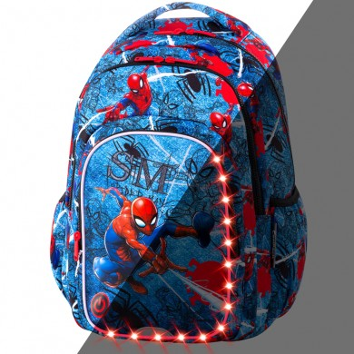 Светеща Раница CoolPack Spark L LED - Spiderman Denim